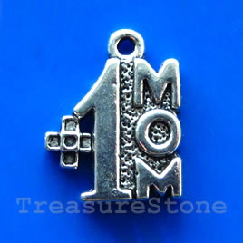 Pendant/charm, 12x13mm No 1 Mom. Pkg of 8.