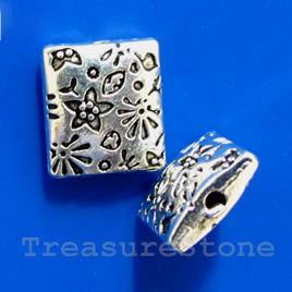 Bead, silver-finished,9x10mm puffed rectangle. Pkg of 10.