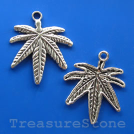 Pendant/charm, silver-finished,31x33mm leaf. Pkg of 5.
