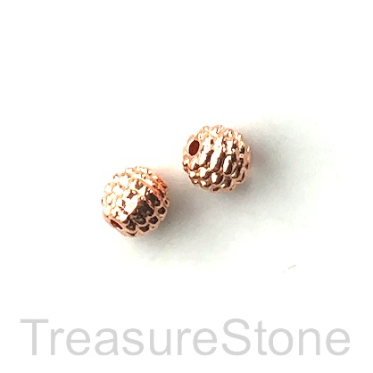 Bead, rose gold finished, 8mm dotted round. Pkg of 10.