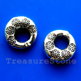 Bead frame, antiqued silver-finished, 19mm. Pkg of 2.