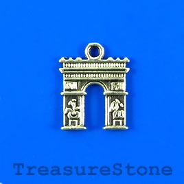 Charm/pendant, silver-plated, 14x15mm victory gate. Pkg of 11.