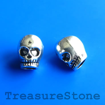 Bead, silver-finished, large hole, 9x13mm skull. Pkg of 7.