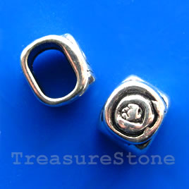 Bead, antiqued silver-finished, large hole, 11x13mm. Pkg of 2