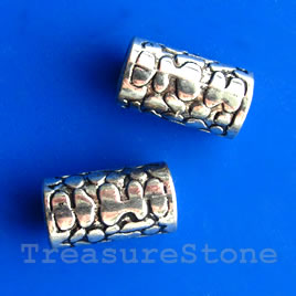 Bead, silver-finished, large hole, 19x10mm tube. Pkg of 2.