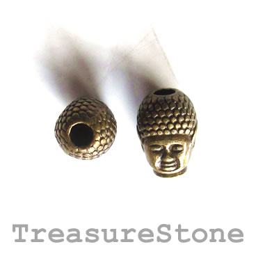 Bead, antiqued brass finished, 9x12mm Buddha Head. Pkg of 8.