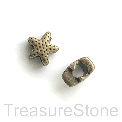 Bead, brass-colored, 12mm starfish, large hole, 4mm. Pkg of 8.