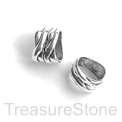 Bead, silver,10x13mm, large hole, 5x9mm cord. 7pcs