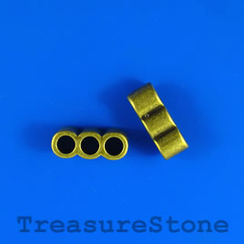 Bead, brass colored, large hole,8x21mm,3-strand spacer/slider. 4