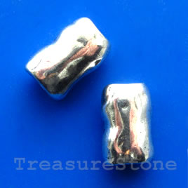Bead, silver-finished, large hole, 18x12x9mm shaped tube. Each