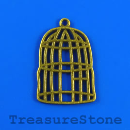 Pendant, brass plated, 22x28mm bird cage. Pkg of 5.