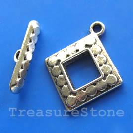 Clasp, toggle, antiqued silver-finished, 14/23mm. Pkg of 5.