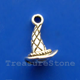 Pendant/charm, silver-finished,11x13mm hat. Pkg of 10.
