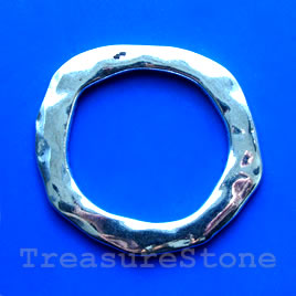 Bead, silver-finished, 55mm hammered circle. Sold individually.