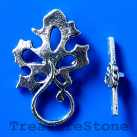Clasp, toggle, antiqued silver-finished, 31x20mm. pkg of 4.
