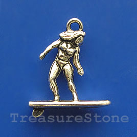 Pendant/charm, silver-finished, 18mm surfer. Pkg of 8.
