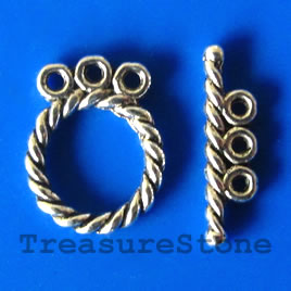 Clasp, toggle, antiqued silver-finished,12/17mm. Pkg of 12.