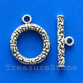 Clasp, toggle, antiqued silver-finished, 17/22mm. Pkg of 6.