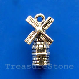 Pendant/charm, silver-finished,9x15mm windmill. Pkg of 8.
