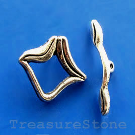 Clasp, toggle, antiqued silver-finished, 17x18mm. Pkg of 6.