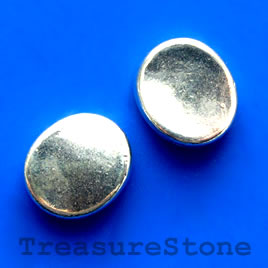 Bead, antiqued silver-finished, 13x18mm. Pkg of 8.