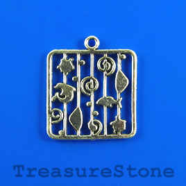 Pendant, silver-colored, 24mm. Pkg of 4.