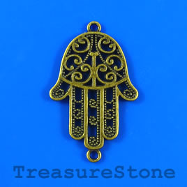 Charm/pendant/link, brass-plated, 23x38mm fatima hand. Pkg of 3.