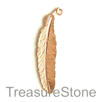 Charm, rose gold-finished, 12x50mm leaf. Pkg of 3.
