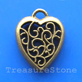 Pendant/charm, brass-finished, 24x28mm filigree heart. Each.