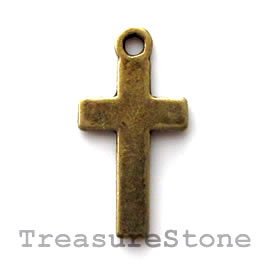 Pendant/charm, brass-finished, 13x21mm cross. Pkg of 12.