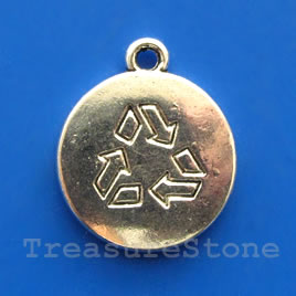 Pendant/charm, 16mm recycle symbol. Pkg of 4.
