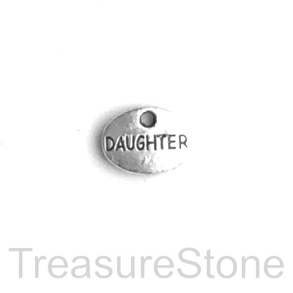 "Charm, 9x12mm silver-colored ""DAUGHTER"". Pkg of 12."