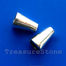 Cone, antiqued silver-finished, 6x10mm. Pkg of 16.