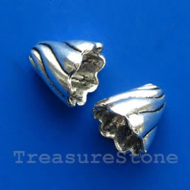 Cone, antiqued silver-finished, 13mm. Pkg of 6.