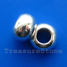 Bead, silver-finished, large hole, 13x18mm rondelle. Each
