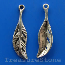 Pendant/charm, silver-finished, 8x25mm feather. Pkg of 15.
