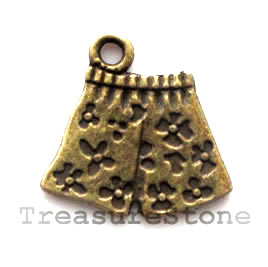 Pendant/charm, brass-finished, 17x14mm shorts. Pkg of 8.