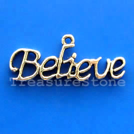 Pendant/charm, 33x10mm Believe. Pkg of 6.
