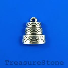 Charm/pendant, silver-plated, 17mm wedding cake. Pkg of 6.