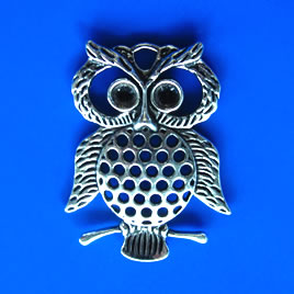 Pendant/charm, silver-finished, 33x44mm owl. Sold individually.