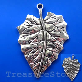 Pendant, silver-finished, 49x60mm leaf. Sold individually.