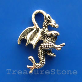 Pendant/charm, silver-finished,15x20mm dragon. Pkg of 8.