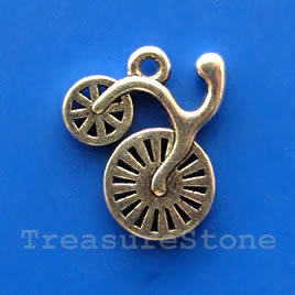Pendant/charm, 17x18mm bicycle. Pkg of 5.