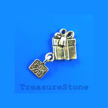Charm/pendant, silver-plated, 12x15mm Gift for you. Pkg of 6