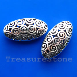 Bead, silver-finished,21x42x12mm filigree oval.Sold individually