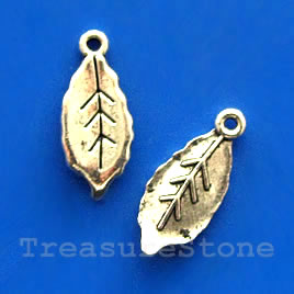 Charm, silver-finished, 6x12mm leaf. Pkg of 18.