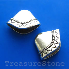 Cone, antiqued silver-finished, 8x23x18mm. Pkg of 4.