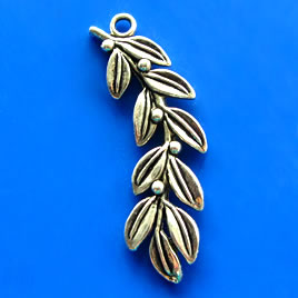 Pendant, silver-finished, 20x50mm. Pkg of 2.