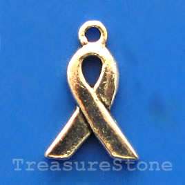 Charm, silver-finished, 10mm pink ribbon. pkg of 15.