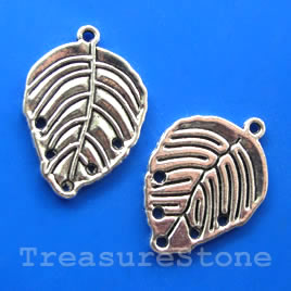 Charm/Pendant/Connector, silver-finished, 20x26mm leaf. Pkg of 7